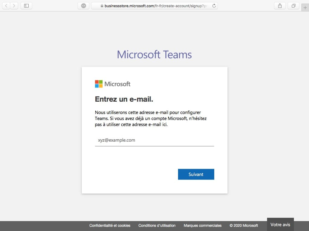 microsoft teams adresse email