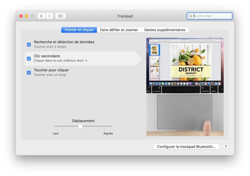 Configurer le TrackPad du Mac pour un gaucher clic trackpad droit par defaut Catalina