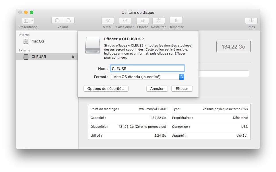 Creer une cle USB dinstallation formater en mac os etendu journalise