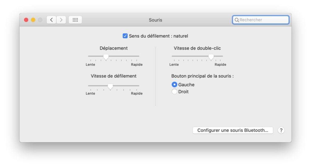 changer clic bouton souris mac