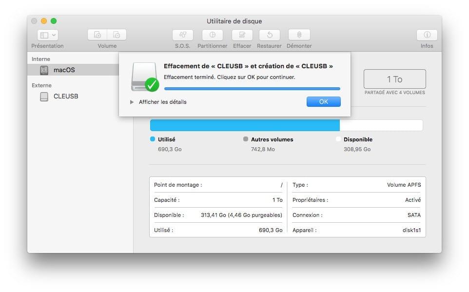 formatage macos etendu pour cle usb d installation mac