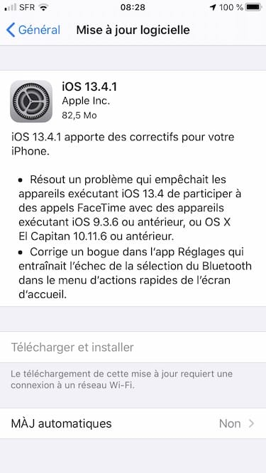 iOS 13.4.1 iPhone liste des correctifs