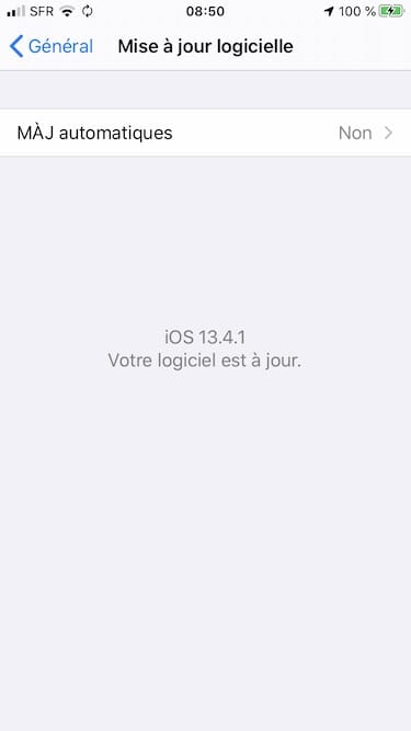 iOS13.4.1 votre logiciel est a jour