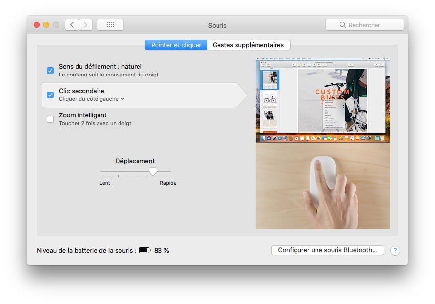 mac changer clic secondaire droit