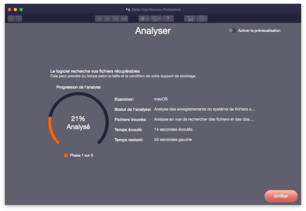 recherche de fichiers recuperables sur mac