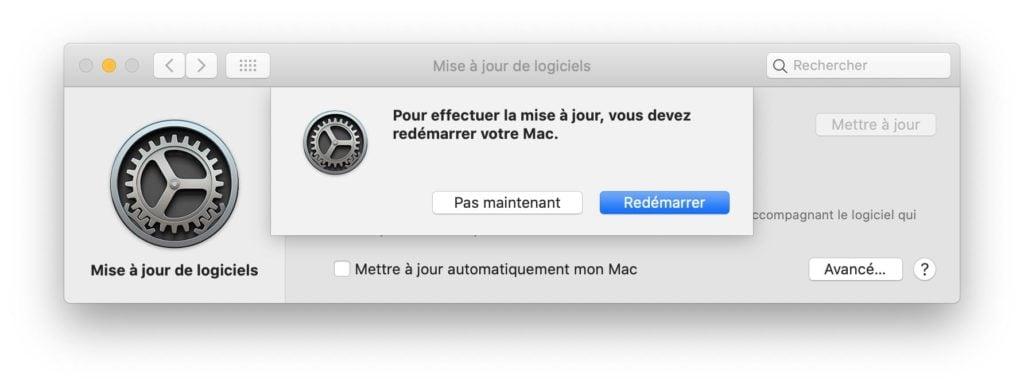 redemarrer macos 10.15.4 pour update