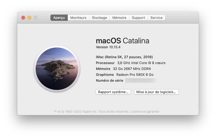 Analyser le CPU du Mac A propos de ce Mac