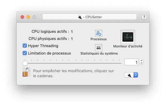 Mac changer vitesse horloge du processeur avec CPUSetter