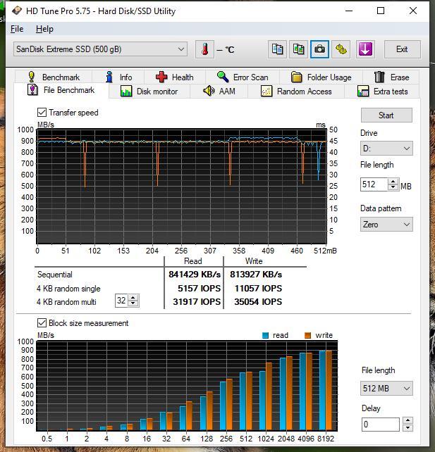 SanDisk Extreme Pro Portable SSD HD tune pro file benchmark