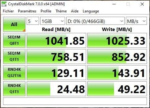 SanDisk Extreme Pro Portable SSD crystalDiskMark