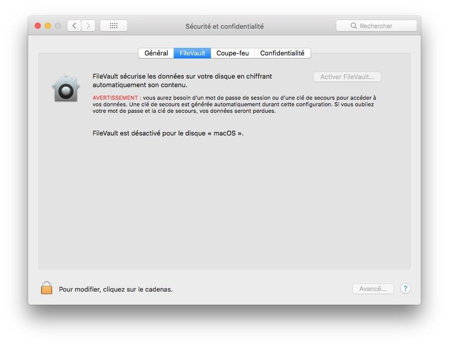 desactiver filevault avant de vendre mac