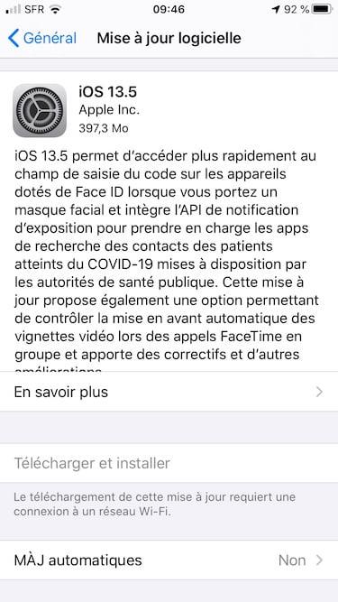 iOS 13.5 liste nouveautes
