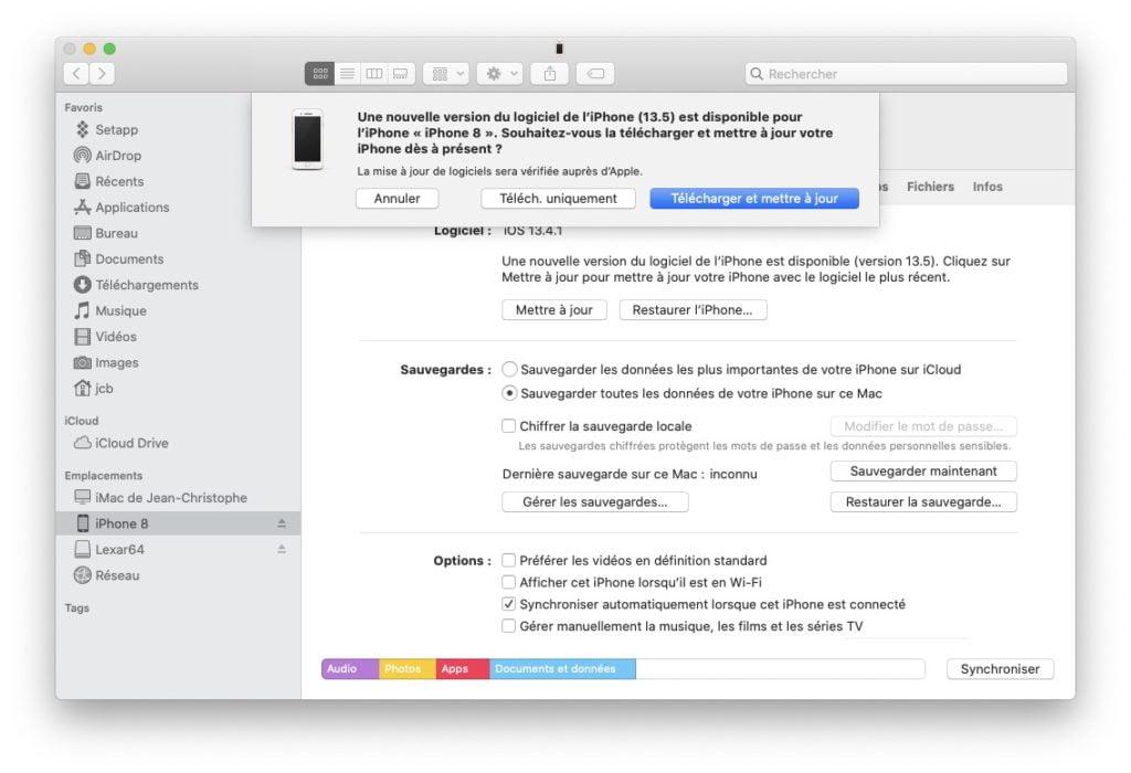 iOS 13.5 maj sous Catalina avec Finder