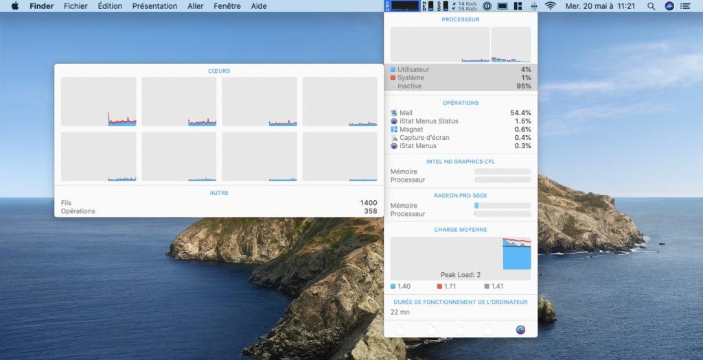 iStats Menus Mac cpu monitoring