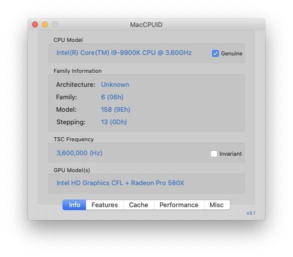 informations processeur mac avec MacCPUID
