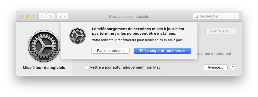 macOS Catalina 10.15.5 telecharger et redemarrer