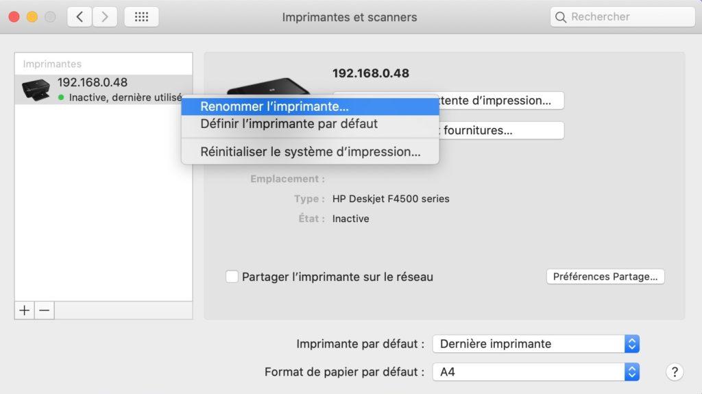 renommer imprimante mac
