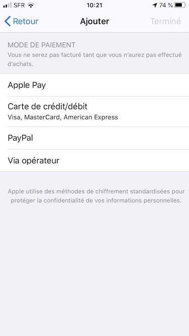 apple id sans ajouter de mode de paiement