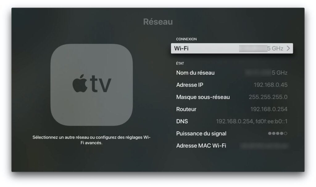 configuration DNS apple TV 4k connexion wifi
