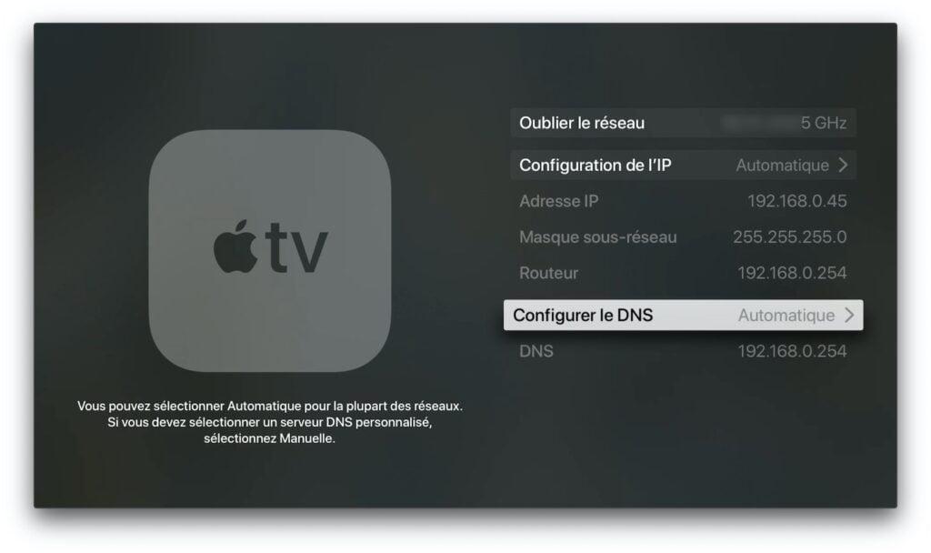 configurer le DNS apple TV manuellement