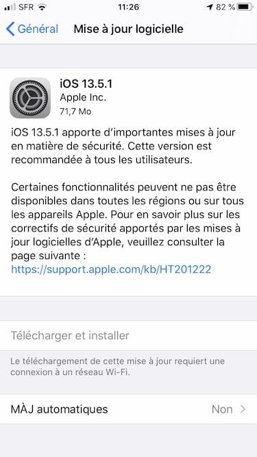 iOS 13.5.1 iPadOS 13.5.1 correctif