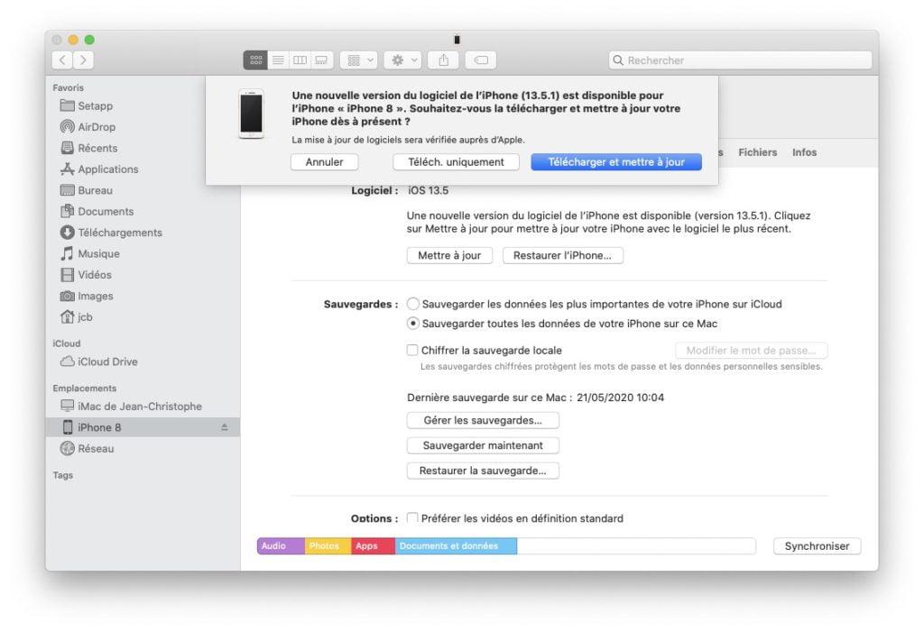 iOS 13.5.1 mise a jour avec Finder macOS