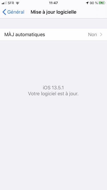 iOS 13.5.1 votre logiciel est a jour
