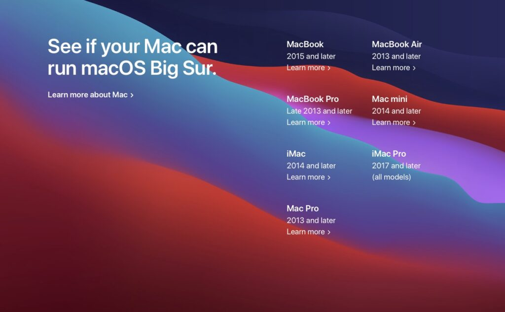 macOS Big Sur 11.0 verifier liste des Mac compatibles