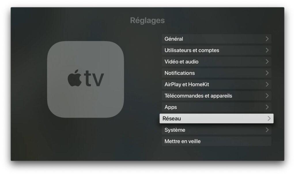 modifier dns apple tv