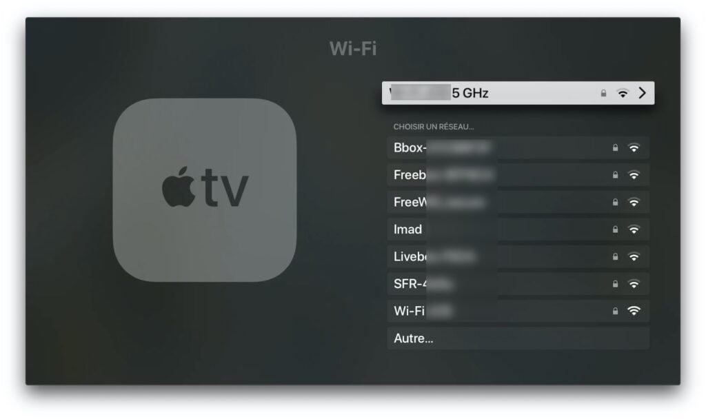 parametre wifi apple tv