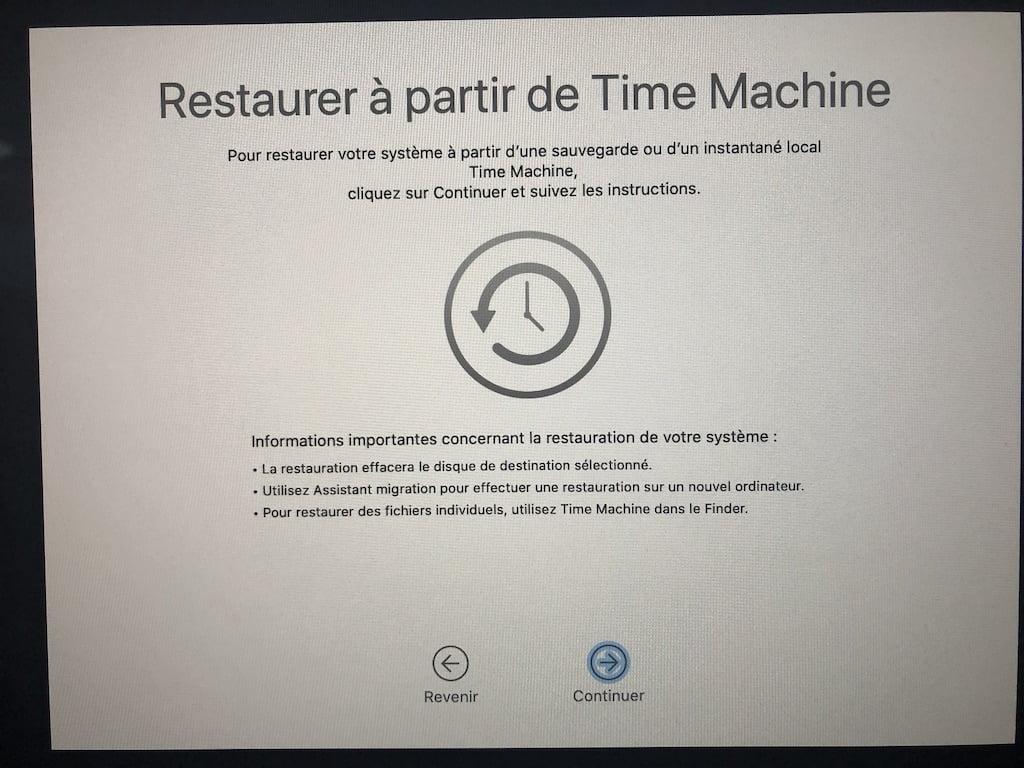 Downgrade macOS Big Sur a partir de Time Machine