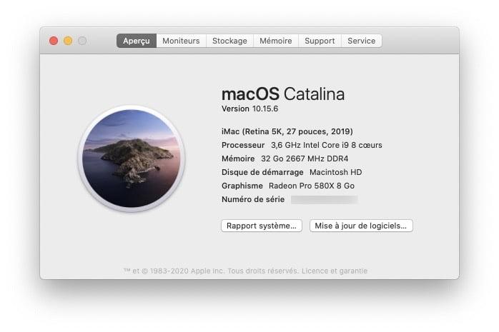 Installer macOS Big Sur avec VMware Fusion verifier puissance Mac