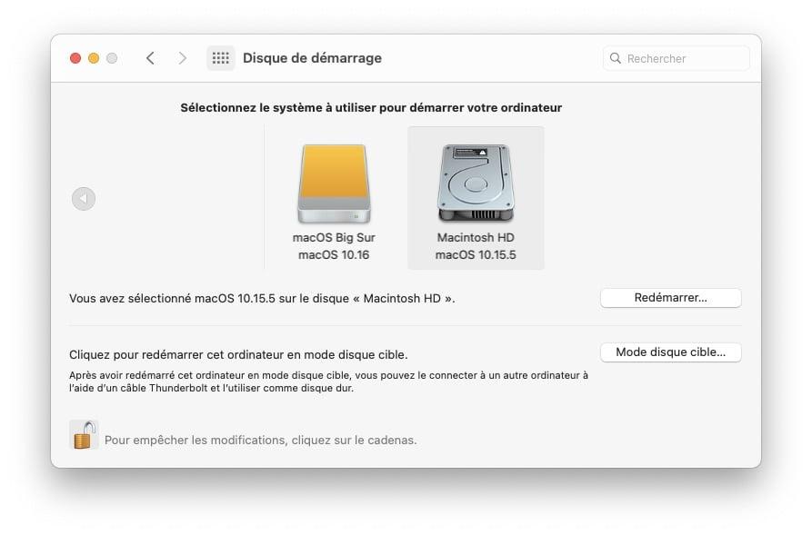 Installer macOS Big Sur dual boot catalina choix systeme demarrage