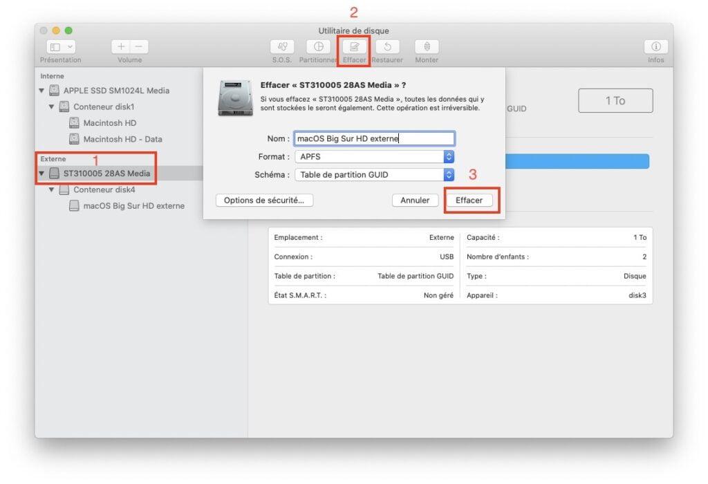 Installer macOS Big Sur sur un disque externe formater le disque en APFS ou macos etendu