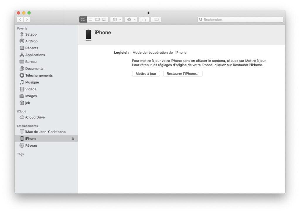 downgrade ios 14 mode de recuperation de l iPhone