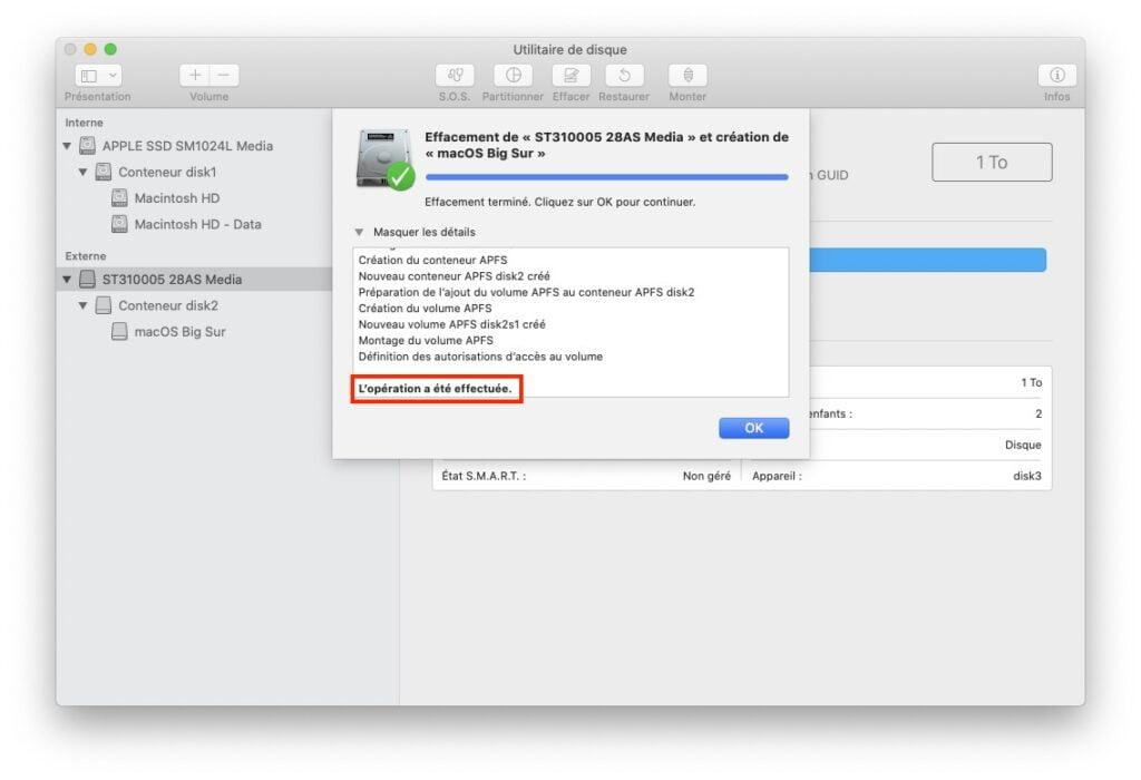 formater disque externe pour installer macos Big Sur 11.0