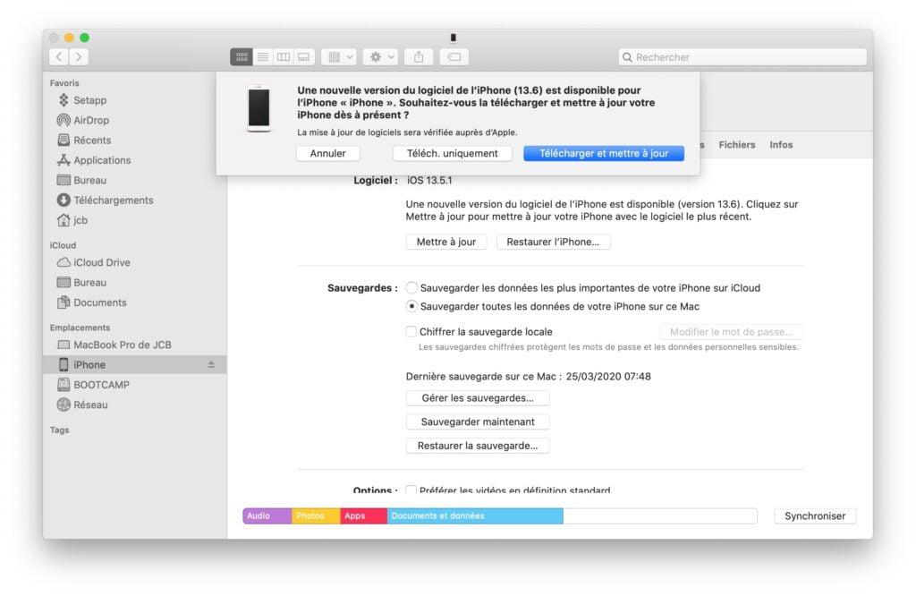 iOS 13.6 mise a jour avec Finder macOS