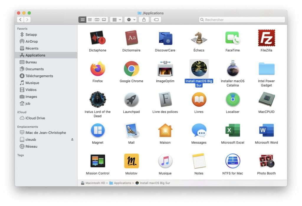installer macos Big Sur sur SSD