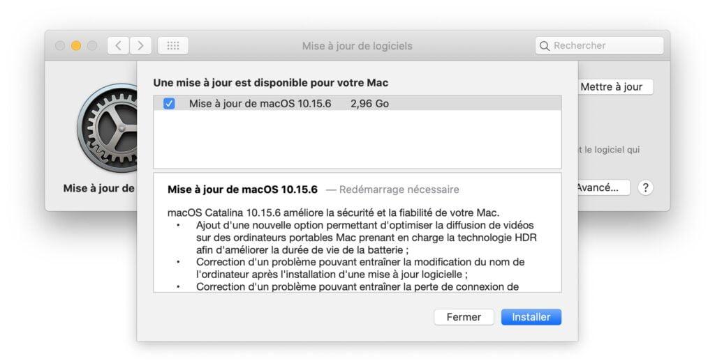 macOS Catalina 10.15.6 une mise a jour est disponible pour votre Mac