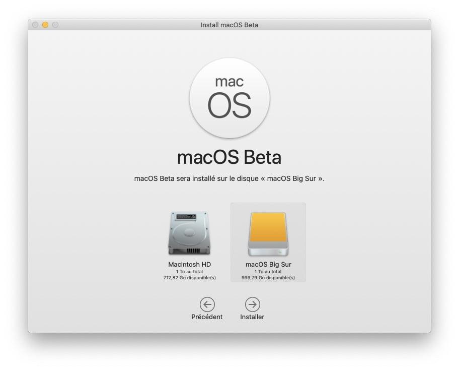 macos Big Sur sera installe sur le disque externe
