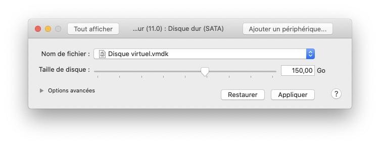 vmware reglages taille disque big sur