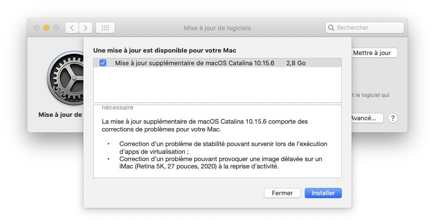 Mise a jour supplementaire pour macOS Catalina 10.15.6 telechargement en savoir plus