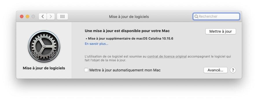 Mise à jour supplémentaire pour macOS Catalina 10.15.6 téléchargement