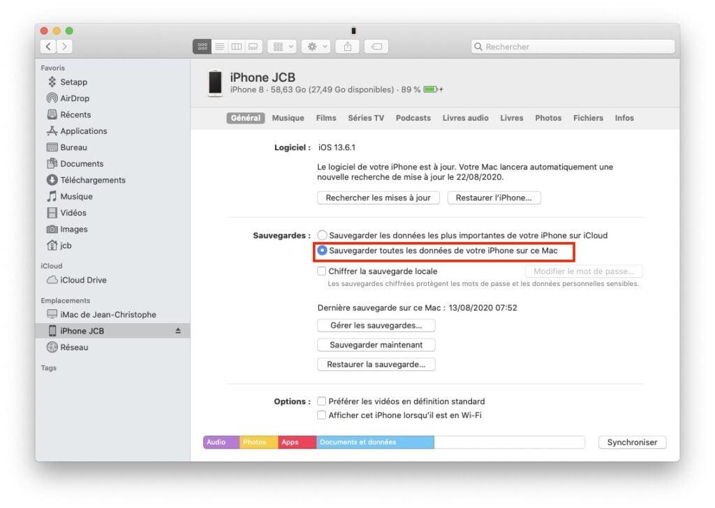Sauvegarder son iPhone sur Mac macos Big Sur