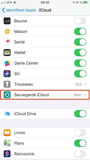activer sauvegarde icloud sur iphone
