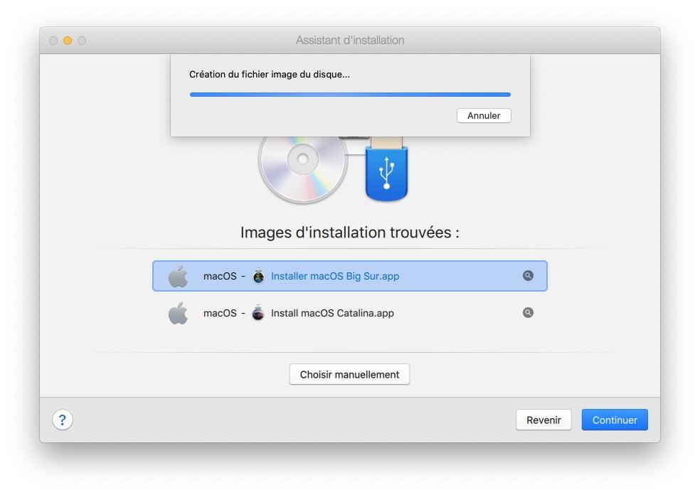 creation fichier image du disque macos big sur