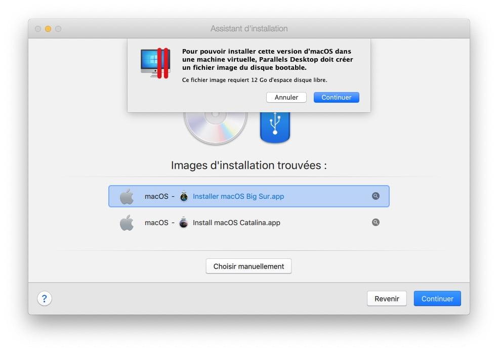 creation machine virtuelle big sur parallels desktop