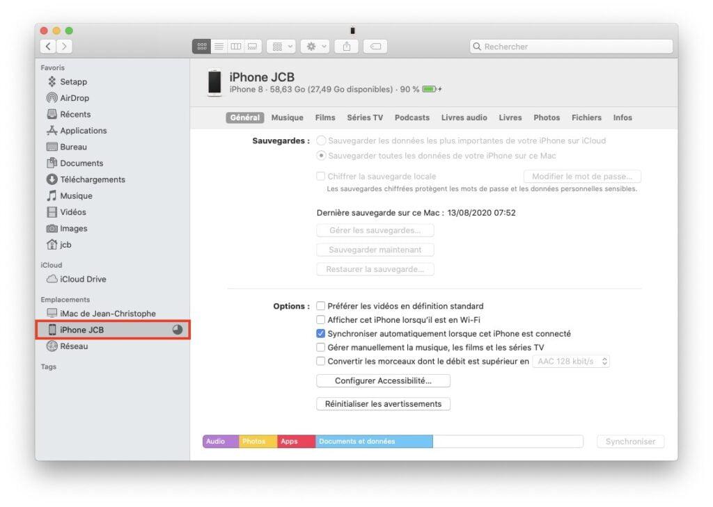 faire une sauvegarde de son iPhone sur Mac