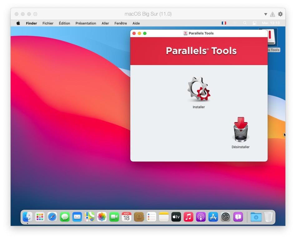 installer Parallels Tools macos big sur