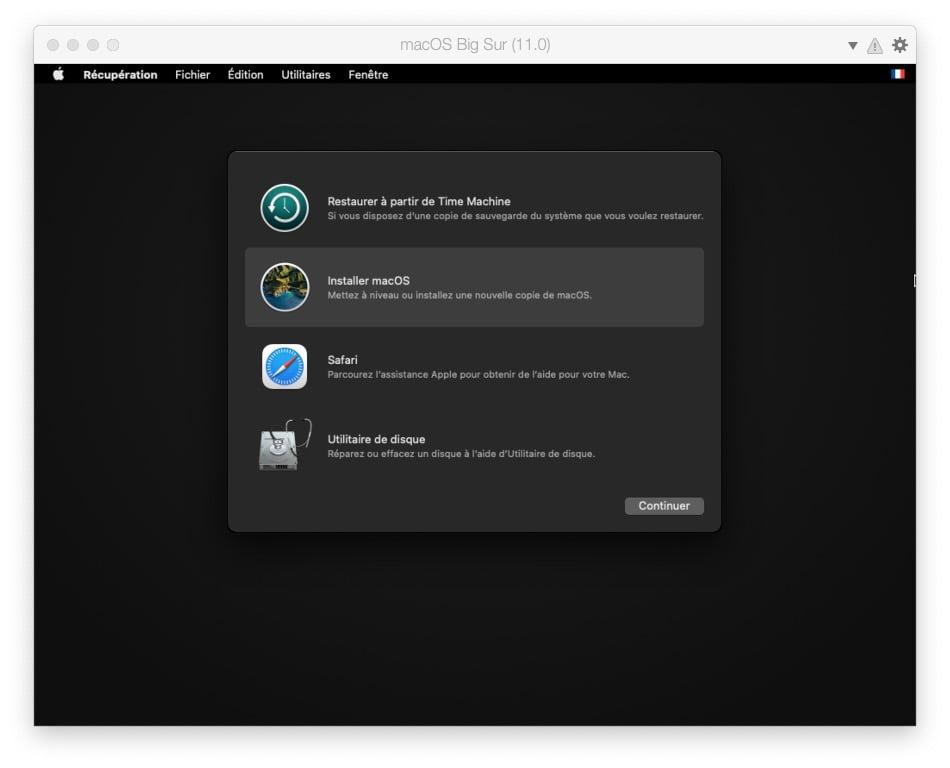 installer ou mettre a niveau macOS Big Sur via Parallels Desktop 16
